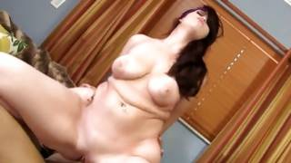 Chubby cutie groans while dick riding