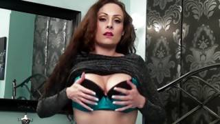 Check out this passionate beauty touching her little sexy lingerie