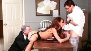 Two debauched nasty guys are screwing this hot naked sweetie