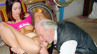 Curious ancient guy is interesting fingering the spread pussy of young gal