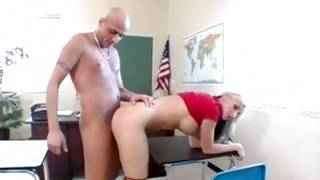 Bald teacher is cramming his marvelous student right in class