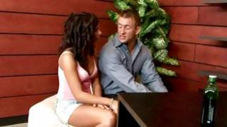 Brunette astonishing whore is seducing a horny lad for a fucking