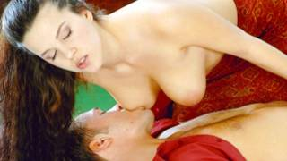 Horny dude is sucking really huge melons of this innocent beauty babe