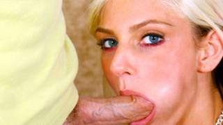 Look at this blonde beauty sucking off this huge and tasty dick