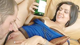 Short haired brunette is getting this tasty cunt hole sucked on