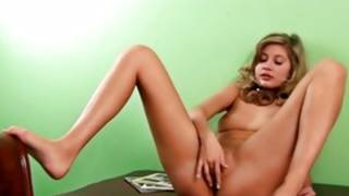 Hairy natural blonde doxy is bending the whole time fingering herself
