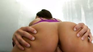 Brunette immense breasty damsel is riding on a overweight cock