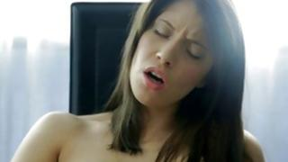 Brunette seductive wench is moaning gross through masturbation