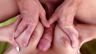 Silicone tittied non-traditional tramp is hammered with crude switch