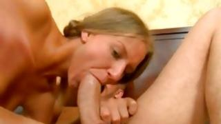 This hot golden girl likes sublime fucking with 2 beefy sirs