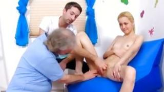 Foxy mister with huge dick is fucking a little chick after a gyno interviewing