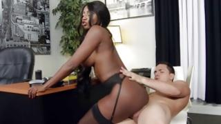 Horny interracial hoe is riding on knob