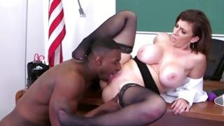 See dirty interracial jamming in a office