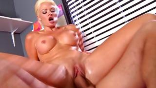 Fair-haired unprotected harlot is drilled with huge dick