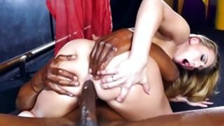 Non-traditional interracial fucking of light-haired skank