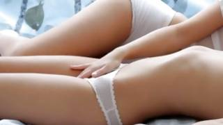 Babes in white panties rubbing their hot vaginas