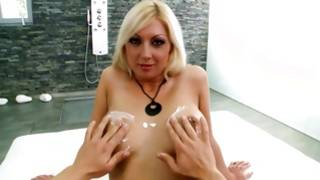 Blondie in stockings gets her cruelly fucked