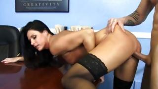 Bitch in pantyhose got her screwed indecently