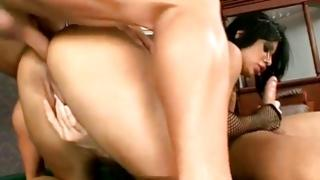 Largely racy the chick is character group-fucked in her a-hole and face hole by her men