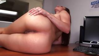 Booty gal having her wet crack fingered and pressed with gigantic penis