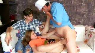 Thrashing half-grown gal is eating away a colossal dick while pounded crude inherent