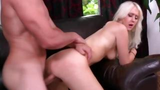 Raunchy blondie got punished by baldheaded hunk