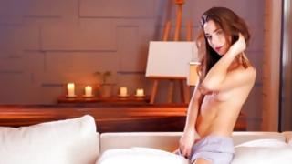 Fine slut female-dominant is rubbing her supreme vagina very rough