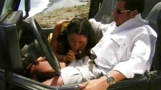 Mischievous and aroused brown-haired is begging her male to bang her in asshole in that car