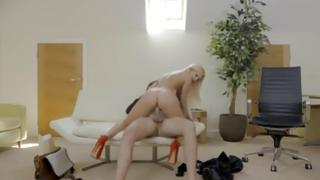 Arousing hottie with pulsating pantoons is somebody team-fucked in her pussy by her slaver