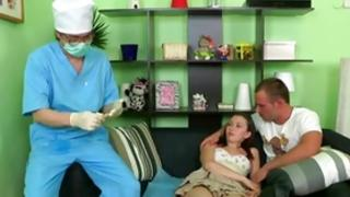 Mouth-watering faultless diaper lover babe is having her first time with a doctor and a somebody