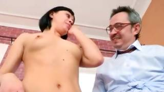 Brunette gf is examined by ill-mannered mature