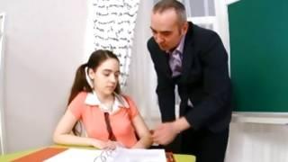 Horrible man is teaching sluttish teen gf
