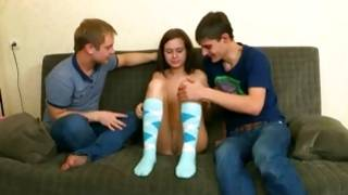 Depraved guys hungered watching her nude body