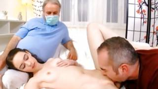 Gyno watches dude is sucking off her breasts
