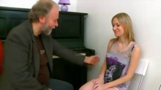 Blonde vulgar babe is observed by mature dude