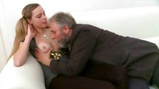 Odorous floor threesome with sweet whore