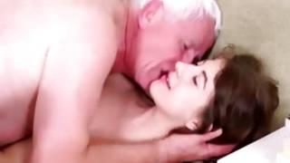 Filthy hottie is kneeling for sucking his penis