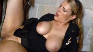 Fine MMF sex with doxies in police uniform