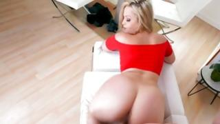 Charming and happy blonde hottie is begging her male fuck her gently