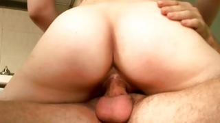 Thrilling red-haired honey riding on colossal manhood