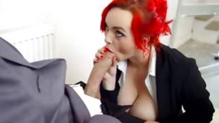 Red haired ridiculous gf is giving the kinky blowjob