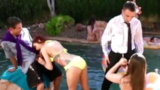 Watch indecent orgy in the pool by filthy young people