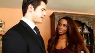 Awful black skinned bitch is decoying brutal dude