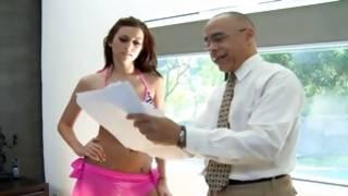 Brunette charming gf welcomes mature teacher