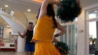 Fellow is hungered watching on sexy cheerleader