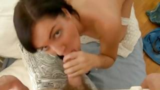 Masturbating hottie is sexually sucking the pecker