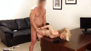 Blondie is bending over the table while horny fucked