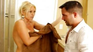 Awful fellow is watching on dear is nude in the towel