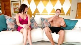 Bizarre chick in dress is talking to an obscene dude