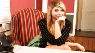 Adorably sweet bitch posing depraved on the chair